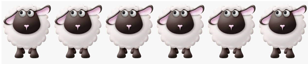 A row of illustrated sheep