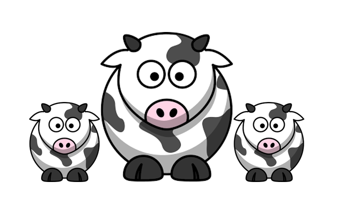 3 illustrated cows